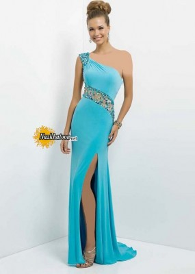 Elegant Pool Long Sparkly Jeweled Slit Leg Prom Dress With Sheer
