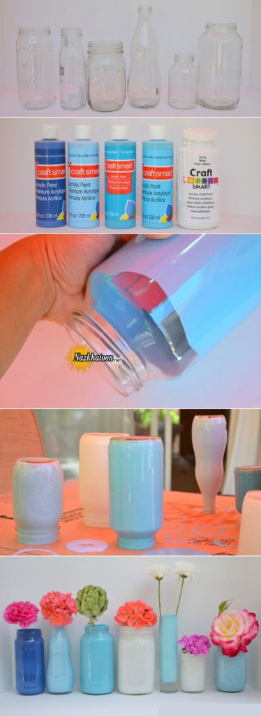ایده جالب تزیین شیشه و ساخت گلدان