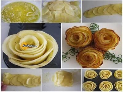 ایده جالب سیب زمینی به شکل گل رز