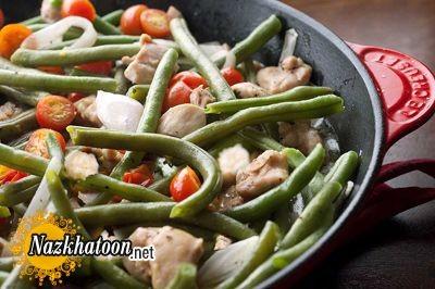 طذر تهیه سالاد گرم لوبیا سبز