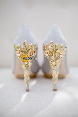 gorgeous-gray-wedding-shoes-with-gold-leaves-heel