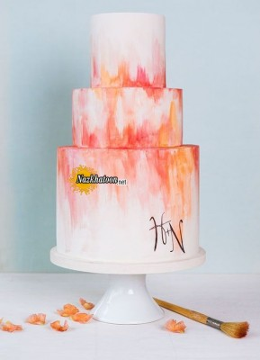 amazing-ombre-coral-painted-wedding-cakes