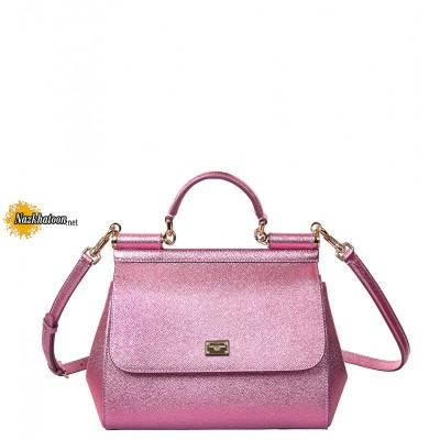 dolce-&-gabbana-metallic-pink-leather-medium-'sicily'-tote