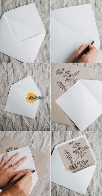 simple-DIY-rustic-wedding-invitation-and-envelope-liners