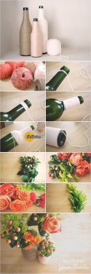 unqiue-rope-wrapped-bottle-spring-wedding-centerpiece-ideas