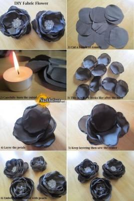 درست کردن گل با پارچه و شمع