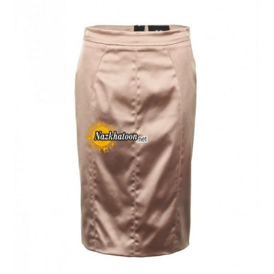 d&g-beige-stretch-satin-pencil-skirt