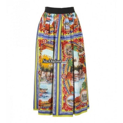 dolce-&-gabbana-multicoloured-cotton-postcard-print-maxi-skirt