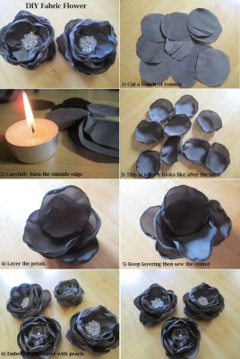 درست کردن گل پارچه ای با شمع