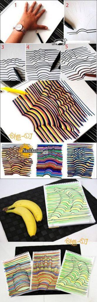 نقاشی سه بعدی با موز و دست
