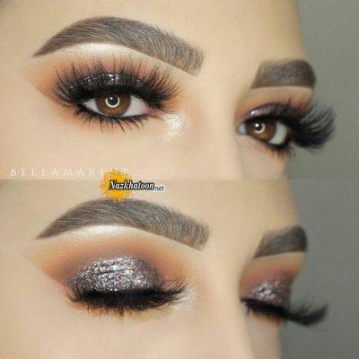 مدل آرایش چشم براق و اکلیلی