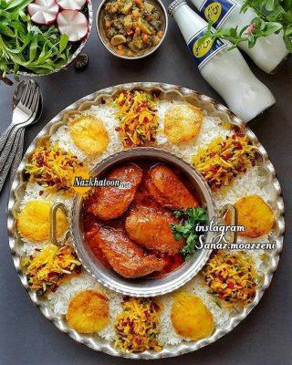 انواع غذای ایرانی با تزئین